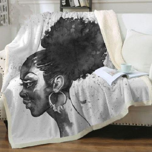 African Fashion Girl Throw Blanket Throw Blanket BeddingOutlet 75cmx100cm