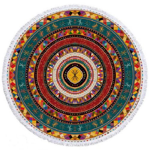 African Folkloric Round Towel Beach/Bath Towel BeddingOutlet Diameter 100cm
