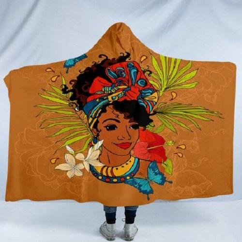 African Girl Hooded Blanket Hooded Blanket BeddingOutlet Kids 127(H)x152(W)