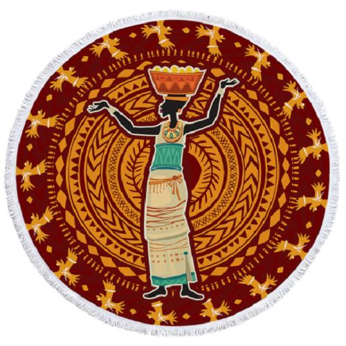 African Woman Round Towel Beach/Bath Towel BeddingOutlet Diameter 100cm