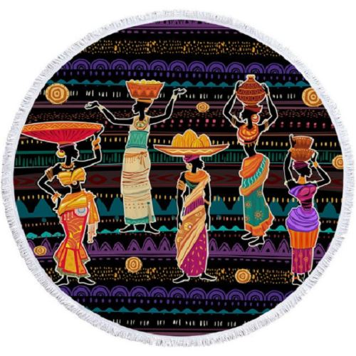 African Woman Tradition Round Towel Beach/Bath Towel BeddingOutlet Diameter 100cm
