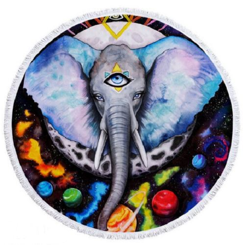 Alien Elefant Round Towel Beach/Bath Towel BeddingOutlet Diameter 100cm