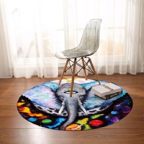 Alien Elephant Round Carpet Floor Mat BeddingOutlet Diameter 60cm