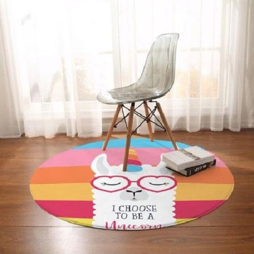 Alpaca Cartoon Round Carpet Floor Mat BeddingOutlet Diameter 60cm