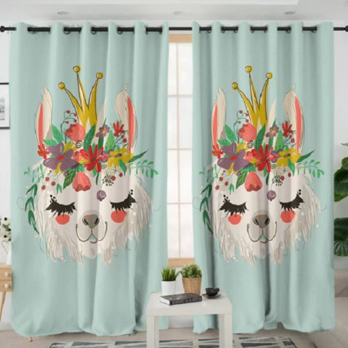 Alpaca Flower Living Room Curtain Window Curtain BeddingOutlet W100xH130cm