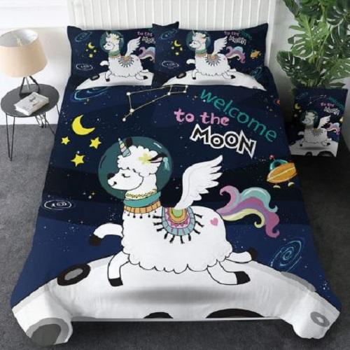 Alpaca Sheep Moon Star Duvet Cover Set Bedding Cover Set BeddingOutlet AU Single