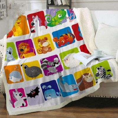 Animal Alphabet Throw Blanket Throw Blanket BeddingOutlet 75cmx100cm