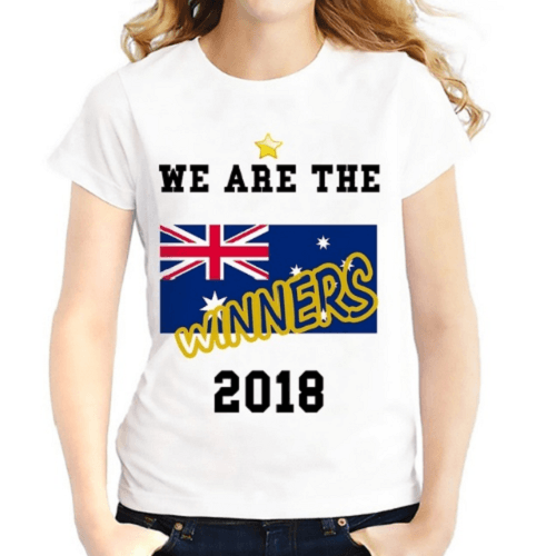 Australia Team Cheering Women T-Shirts Women T-Shirts JollyPeach S