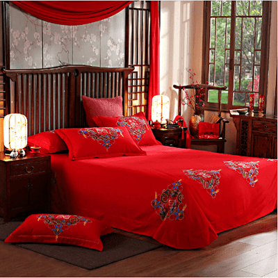 Beautiful Red Cotton Bedding Set Bedding Cover Set Svetanya