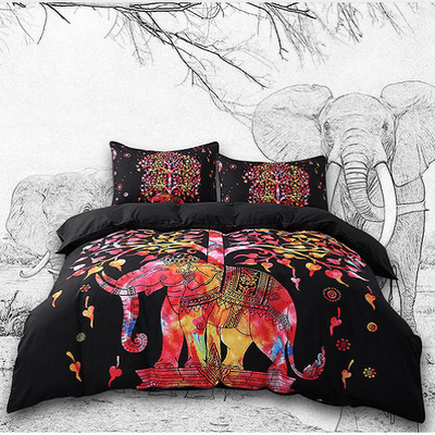 Black Colorful Elephants Exotic Bedding Set Bedding covers BeddingOutlet Single