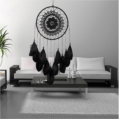 Black Feather Dream Catcher Wind Chimes Dream Catcher Wind Chimes NAI YUE 20*55cm
