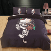 Black Skull Rose Bedding Set Bedding covers Svetanya Single