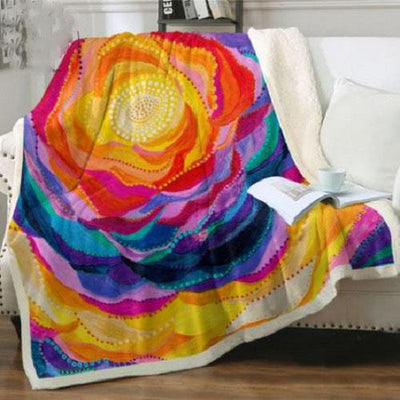 Blooming Flower Throw Blanket Throw Blanket BeddingOutlet 75cmx100cm