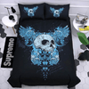 Blue Feathers Skull Duvet Cover Set Bedding covers Svetanya Sinlge