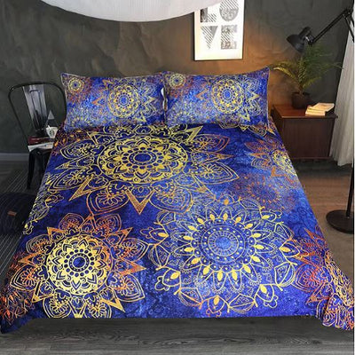 Blue Golden Flowers Duvet Cover Bedding Set BeddingOutlet Single