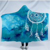 Blue Watercolor Hooded Blanket Hooded Blanket BeddingOutlet Kids 127(H)x152(W)
