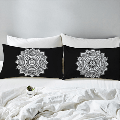 Bohemian Black Lotus Pillow Case Pillowcases BeddingOutlet 50cmx75cm