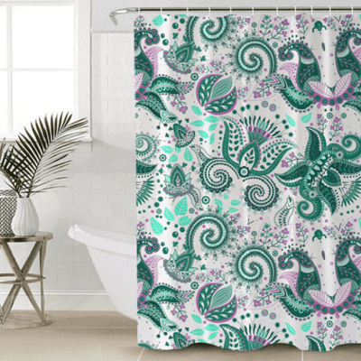 Bohemian Floral Bath Curtain Shower Curtains BeddingOutlet 90x180cm