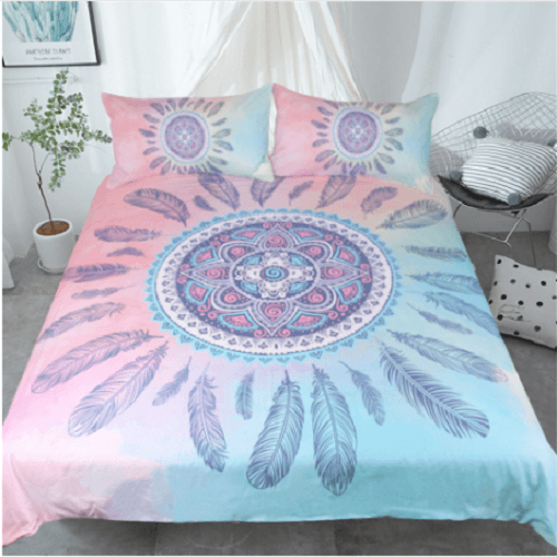 Bohemian Pink and Blue Duvet Bedding Set Bedding covers BeddingOutlet Single
