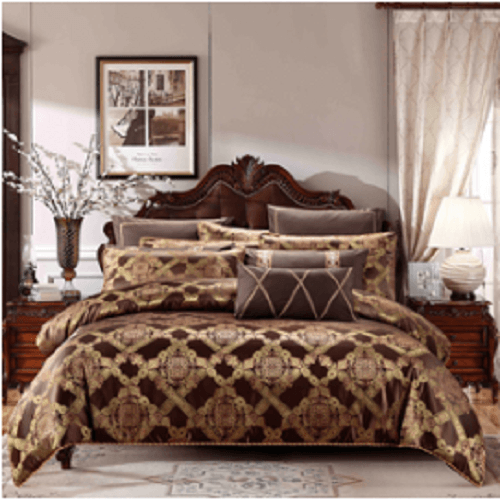 Brown Embroidered Style Luxury Bedlinen Embroidered Bed Set Svetanya Single