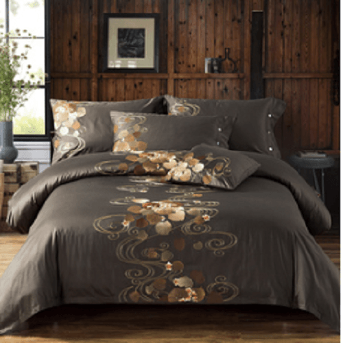 Brown with Petals Embroidered Bed Set Embroidered Bed Set Svetanya AU single