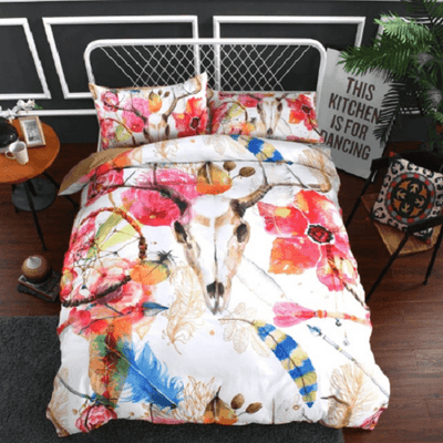 Bull Skull Dream Catcher Bedding Set Bedding Set fanaijia AU Single