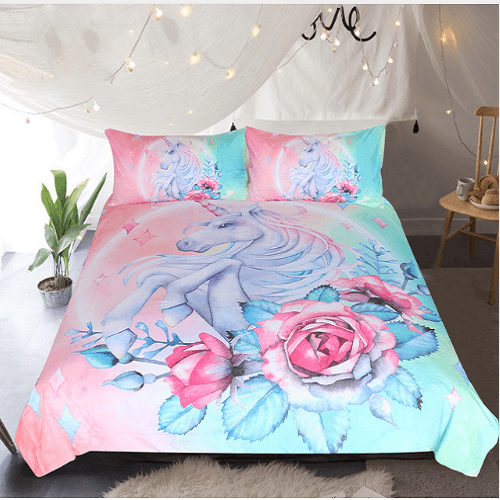 Cartoon Unicorn and Rose Bedding Set Bedding Set BeddingOutlet Single