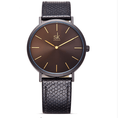 Casual Leather Watches Women Silver Watches SHENGKE Black
