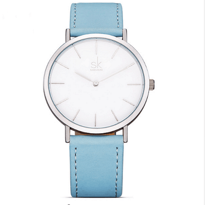 Casual Leather Watches Women Silver Watches SHENGKE Blue