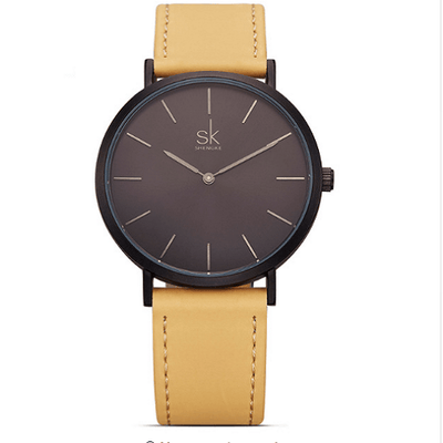 Casual Leather Watches Women Silver Watches SHENGKE Brown