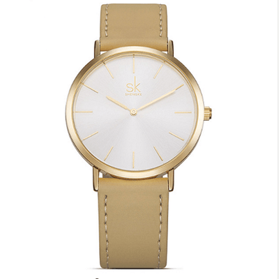 Casual Leather Watches Women Silver Watches SHENGKE Gold
