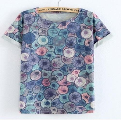 Color Circle Nice Chinese Print Tshirt Women T Shirts JKKUCOCO One Size Blue