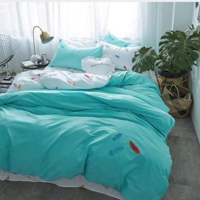 Color Feather Print and Embroidery Bed linen Bedding Cover Set Svetanya