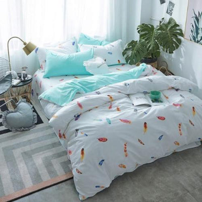 Color Feather Print and Embroidery Bed linen Bedding Cover Set Svetanya single