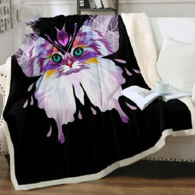 Colorful Cat Throw Blanket Throw Blanket BeddingOutlet 75cmx100cm