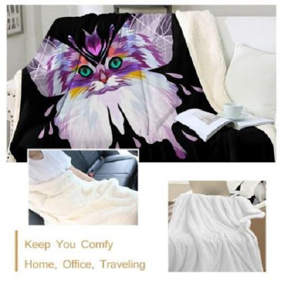 Colorful Cat Throw Blanket Throw Blanket BeddingOutlet