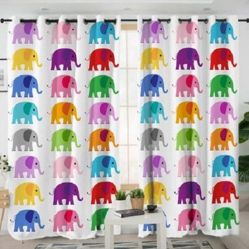 Colorful Elephant Bedroom Curtain Window Curtain BeddingOutlet W100xH130cm