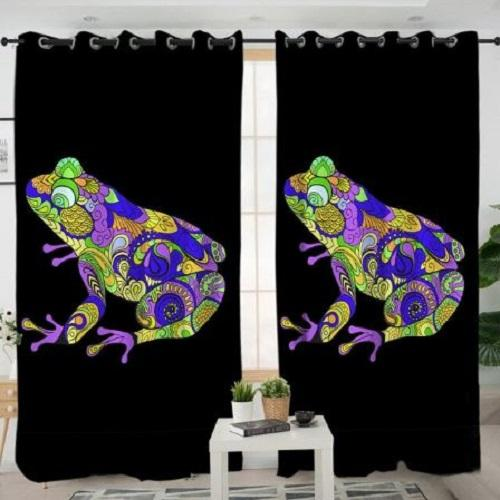 Colorful Frog Living Room Curtain Window Curtain BeddingOutlet W100xH130cm