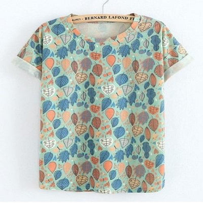 Colorful Leafs Nice Chinese Print Tshirt Women T Shirts JKKUCOCO One Size Blue