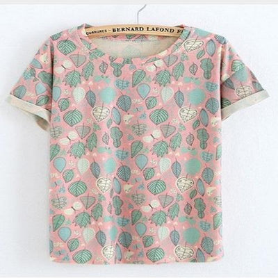Colorful Leafs Nice Chinese Print Tshirt Women T Shirts JKKUCOCO One Size Pink