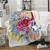 Colorful Skull and Floral Throw Blanket Throw Blanket BeddingOutlet 130cmx150cm
