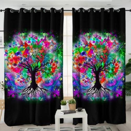 Colorful Tree Window Curtain Window Curtain BeddingOutlet W100xH130cm