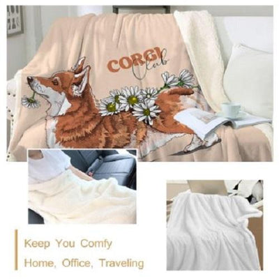 Corgi Fluffy Throw Blanket Throw Blanket BeddingOutlet