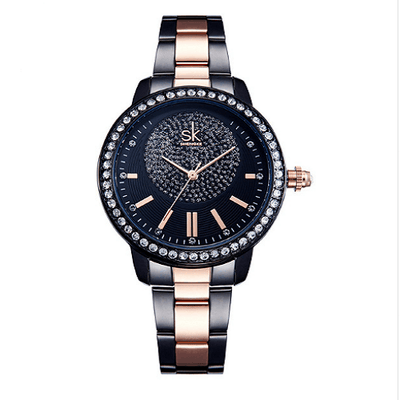 Crystal Rose Gold Women Quartz Watch Women Silver Watches SHENGKE Black Gold