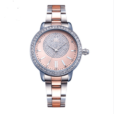 Crystal Rose Gold Women Quartz Watch Women Silver Watches SHENGKE Rose Gold