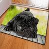 Cute Black Lazy Dog Rugs Door & Floor Mats HUGSIDEA 400mm x 600mm