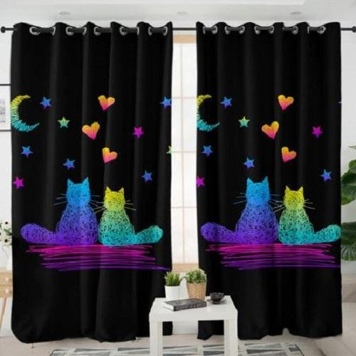 Cute Cats Living Room Curtain Window Curtain BeddingOutlet W100xH130cm