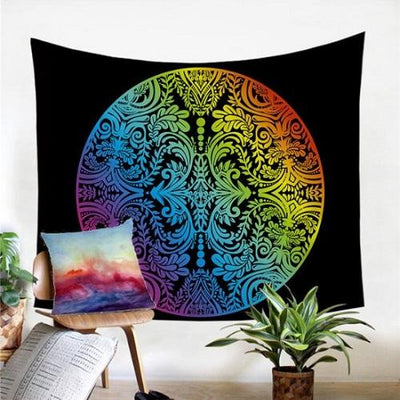 Decorative Wall Hanging Rainbow Color Colorful Tapestry Tapestry BeddingOutlet 130x150cm Circle