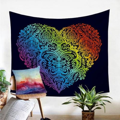 Decorative Wall Hanging Rainbow Color Colorful Tapestry Tapestry BeddingOutlet 130x150cm Heart