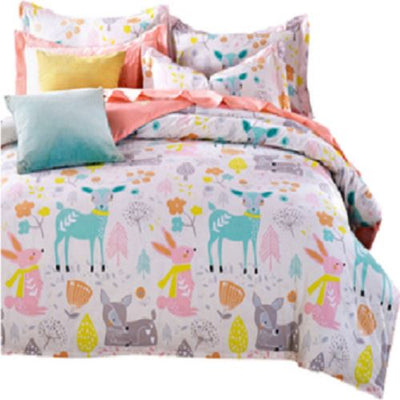 Deer Cartoon Duvet Cover and Pillowcases Bedding Cover Set Svetanya single
